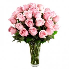 Florero de 24 Rosas Color Rosadas