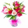Florero de 12 Rosas Color Mix Fucsia y Rosado
