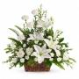 Canastillo de Condolencias Arrimo Triangular Flores Mix Blancas