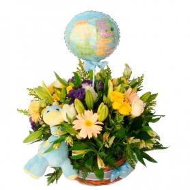 Flores para Nacimiento en Canastillo para Niños con Globo y Peluche