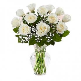 Florero 12 Rosas Blancas de Condolencias