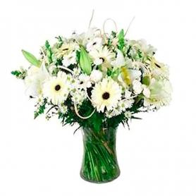 Florero de Flores Gerberas y Lilums Blancos para condolencias
