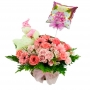 Cesta Para Nacimiento es una Niña en tonos rosados flores mix más peluche y globo