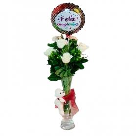 Florero para cumpleaños 6 rosas más + Hipericos + Globo
