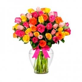 Florero con 30 Rosas Multicolor