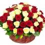 Canastillo de Condolencias Redondo 50 Rosas Blancas y Rojas