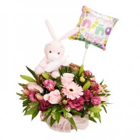 Flores de Nacimiento en Canastillo para Niña con Peluche