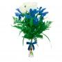 Florero de 4 Rosas Blancas y 3 Iris