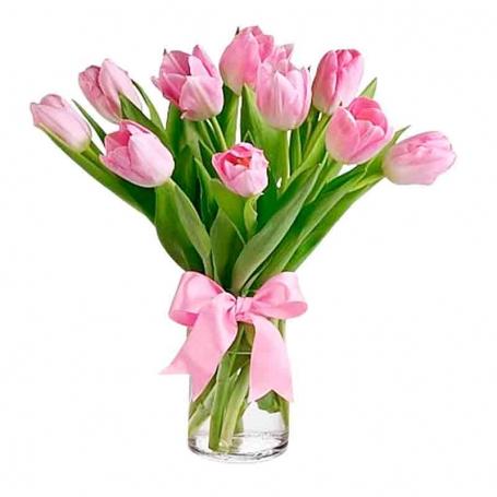 Florero Con 10 Tulipanes Rosados