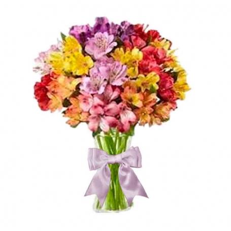 Florero con 20 Astromelias Amarillas multicolor más flores mix