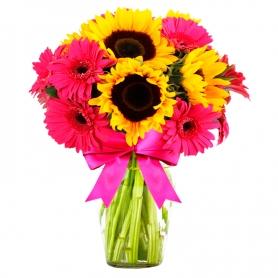 Florero con 5 Girasoles y 5 Gerberas más Flores Mix