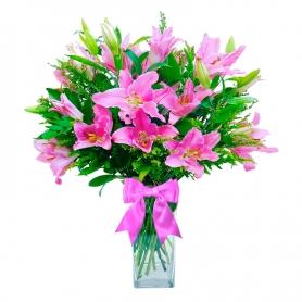Florero con 10 varas de Liliums Rosados más 10 Solidagos