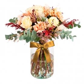 Florero Rústico con Flores otoñales Eucalipto 6 rosas Astromelias Limonios y Flores Silvestres