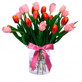 Florero con 20 Tulipanes Rosados y Naranjos