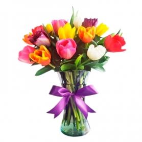 Florero Con 15 Tulipanes Multicolor