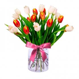 Florero con 20 Tulipanes Naranjas y Blancos