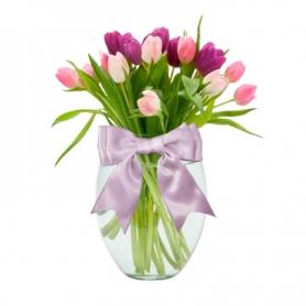Florero con 20 Tulipanes Rosados y Morados