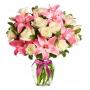 Florero con 12 Rosas Blancas y 10 varas de Liliums Rosados
