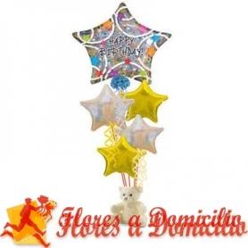 Globos con Helio Estrellas de Cumpleaños Grande