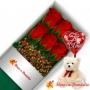 Caja de 6 Rosas Rojas con Globo y Peluche