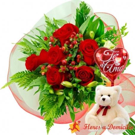 Oferta Ramo 6 Rosas Rojas + Globo y Peluche
