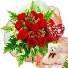 Oferta Ramo 12 Rosas Rojas + Globo y Peluche