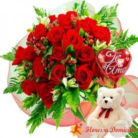 Oferta Ramo 24 Rosas Rojas + Globo y Peluche